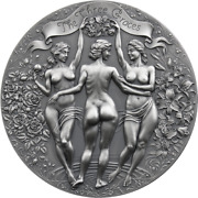 The Three Graces Celestial Beauty Silver Coin 2 Oz Antique Finish 2020 Cameroon