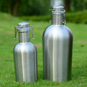 Insulated Beer Growler Bottle With Flip Top Stainless Steel Travel Hip Flask