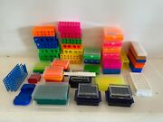 Large Lot Mixed Test Tube Holders Reverible 96 And 60 - 12mm/9mm Covered 96 - 6mm