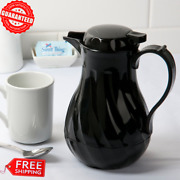 Black Swirl Thermal Insulated Hot Beverage Coffee Tea Thermos Server 20 Oz. New