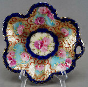 Nippon Hand Painted Pink Roses Gold Beaded Cobalt And Red Bon Bon Dish 1891-1921