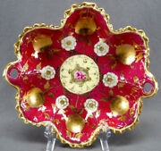 Nippon Hand Painted Pink Rose And Ivory And Gold Peony Flowers Maroon Bon Bon Dish