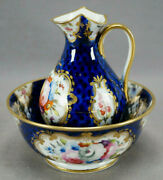 Coalport Hand Painted Floral And Cobalt Miniature Pitcher And Wash Basin Circa 1820s