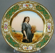 Royal Vienna Style Hand Painted Ruth Flowers Raised Gold Green And Pink Plate