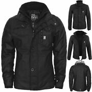 Crosshatch Mens Jacket Full Zip Double Layer Padded Button Winter Warm Coat New