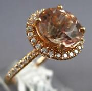 Large 4.13ct Diamond And Aaa Morganite 18kt Rose Gold Round Halo Engagement Ring