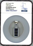 Ngc Pf 70 1892-2017 125th Anniversary Stanley Cup Shaped 50 Silver Coin Canada