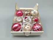 9 Christmas Ornaments Austria Czech West Germany Usa W/ Bell Jumbo Indent Pink
