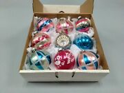 9 Christmas Ornaments Czech West Germany W/ Stenciled Jumbo Indent Pink And Blue