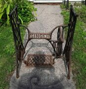 Antique Singer Treadle Sewing Machine Cast Iron Base Stand Table Shabby Chic.