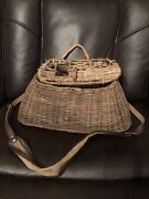 Vintage Wicker Fly Fishing Creel Basket With Leather And Canvas Strap 15 X 5 X 7