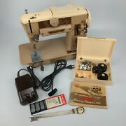 Singer 401a Sewing Machine W/ Foot Pedal Accessories Cams Feet Manual - Vintage