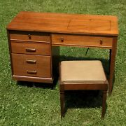Singer Sewing Machine Desk W/ Stool And Leg Pedal Arm - Vintage 401a Cabinet
