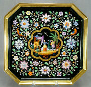 Old Paris Hand Painted Chinoserie Figuries And Birds Floral Black And Gold Tea Tray
