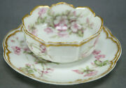 Haviland Limoges Schleiger 241 Pink Flowers And Double Gold Ramekin And Saucer D
