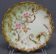 Klingenberg Limoges Pink Blue Floral Green And Gold 8 5/8 Inch Luncheon Plate