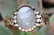Antique Victorian Man In The Moon Moonstone 10k Gold Ring-1800and039s Estate Jewelry