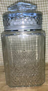 Vtg Apothecary Jar Wedding Candy Cookie Canister Lid Seal Glass 9-1/4 Koezes