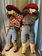 Pair Of Cowboy Cowgirl Stuffed People 36 Inches Tall Handmade