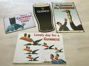 Guinness 4 Sign Lot / Metal Tin / Man Cave Vintage Look