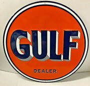 Huge 29 1/2gulf Dealer Gas And Motor Oil Embossed Tin Litho Metal Sign Usa Made