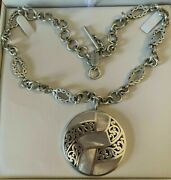 Rare Lois Hill Round Sterling Silver Mother Of Pearl Pendant Open Link Necklace