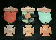 Gar 1883 Lots Of 3 Womans Reliuef Corps Medals W/ Original Ribbons President /