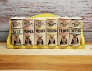 Vintage Spice Set Book-style 6 Spice Containers Windmill Made In Japan