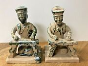 Antique/ Vintage Two Chinese Glazed Pottery Figures Or Bookends