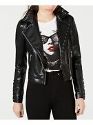 Guess Womens Black Pocketed Faux Leather Lace-up Zip Up Jacket Size S