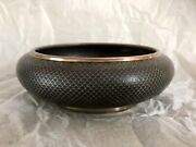 Antique Chinese Black Cloisonne Brush Wash Bowl Fish Scale 6.25 Inches Di