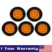 5pcs Round 2 Flower Shape Amber 9 Diodes Clearance Marker Accent Light Grommet