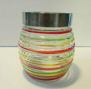 Ribbed Red, Yellow And Green Glass Canister With Lid Jar Kitchen Decor Storage