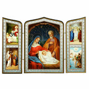 Holy Family Nativity Of Christ Triptych Christmas Icon - Saints 6 3/4x 10