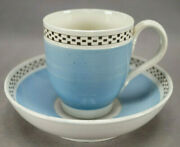 British Blue Black And White Checkered Border Mochaware Cup And Saucer C.1800-1810