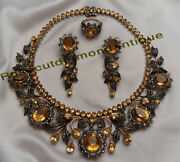 Vintage 15.50ct Antique Rose Cut Diamond Silver Party Topaz Necklace Set And Ring