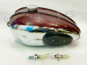 For Bsa C10 C11 C12 C11g 250 Plunger Model Maroon And Chrome Andknee Pad Petrol Tank