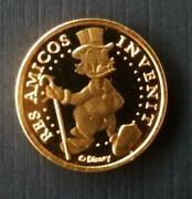 Extremely Rare Walt Disney Scrooge Mcduck 18k Gold Ing Bank Lucky 10 Cent Coin