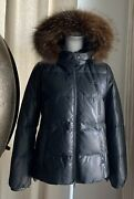 Brunello Cucinelli Quilted Down Leather Removable Fox Fur-trim Hood Jacket Xs