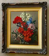 Vintage Antique Oil Painting Of Board Still Life Of A Floral Bouquet