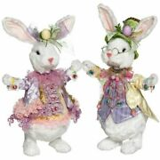 Mark Roberts Fluffy Happy Easter Bunny Figurine 15 Inches Assortment Of 2