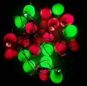 Vintage Blow Mold Red And Green Christmas 4 Bulbs 3 Strings Of 7 Lights Each Rare
