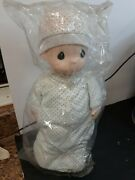 Precious Moments Baby Boy Doll-17-no.1066-1994-white With Blue Polkadot Outfit