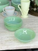 6 Fire King Jadeite Ribbed Edge Jane Ray Pattern Berry Bowls