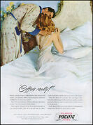 1947 Man Kissing Wife In Bed Pacific Balanced Sheets Vintage Art Print Ad L67