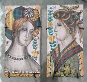 Pair Of Hand-painted Wall Tiles Of Renaissance Italian Signed Tfc