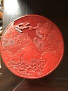 5 Inches Diameter Vintage Chinese Carved Red Chinese Great Wall Cinnabar Box