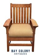 20th C Antique Arts And Crafts L And Jg Stickley Tiger Oak Arm Chair Model 450