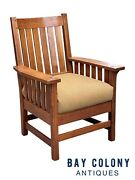 20th C Antique Arts And Crafts L And Jg Stickley Slatted Arm Chair Model 450