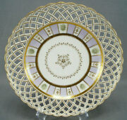 Authentic Royal Vienna Lavender And Gold Striped Reticulated Plate Circa 1797